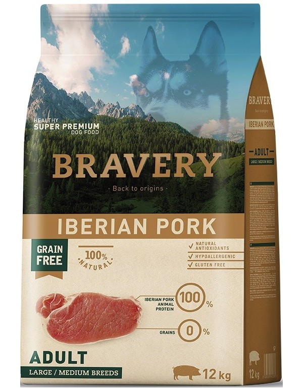 Bravery Adult Medium-Large Pork (Grain Free) Alimento Seco Cão